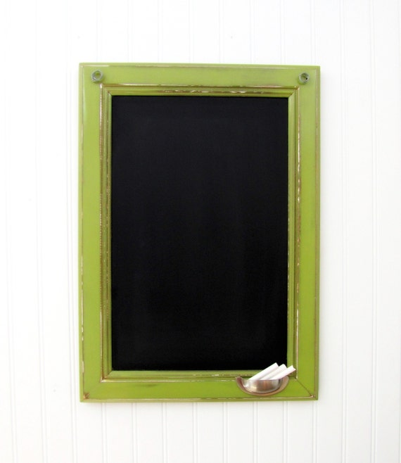 Large Rustic Framed Chalkboard with Hooks - 16in x 22in - YOU CHOOSE COLOR -  Vintage Style