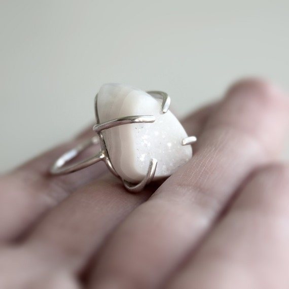 Snow . white druzy agate sterling silver ring
