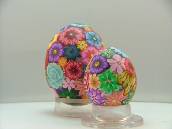 Colorful Millefiori Floral Polymer Clay Covered Quail Egg