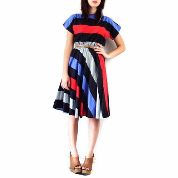 Vintage Bold Striped Midi Dress