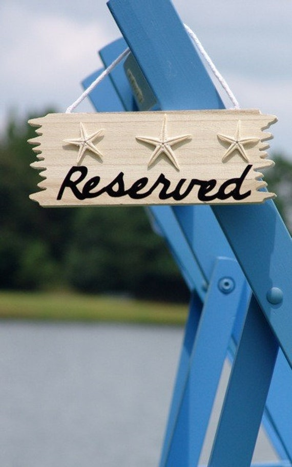 Beach Wedding Chair or Pew Decorations Reserved Sign
