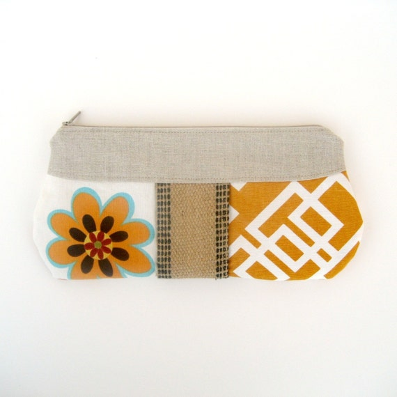 Aqua and Orange clutch with jute detail- ONLY ONE AVAILABLE