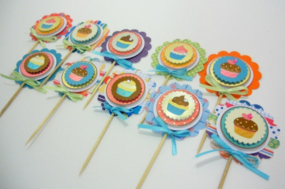 Birthday Themed Cupcake Toppers - Set of 10
