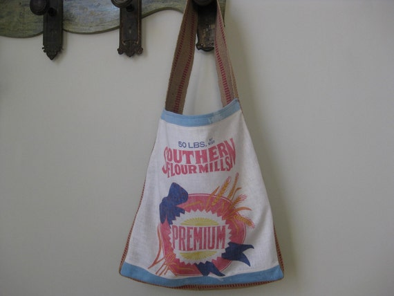 Vintage Flour Sack French Market Bag