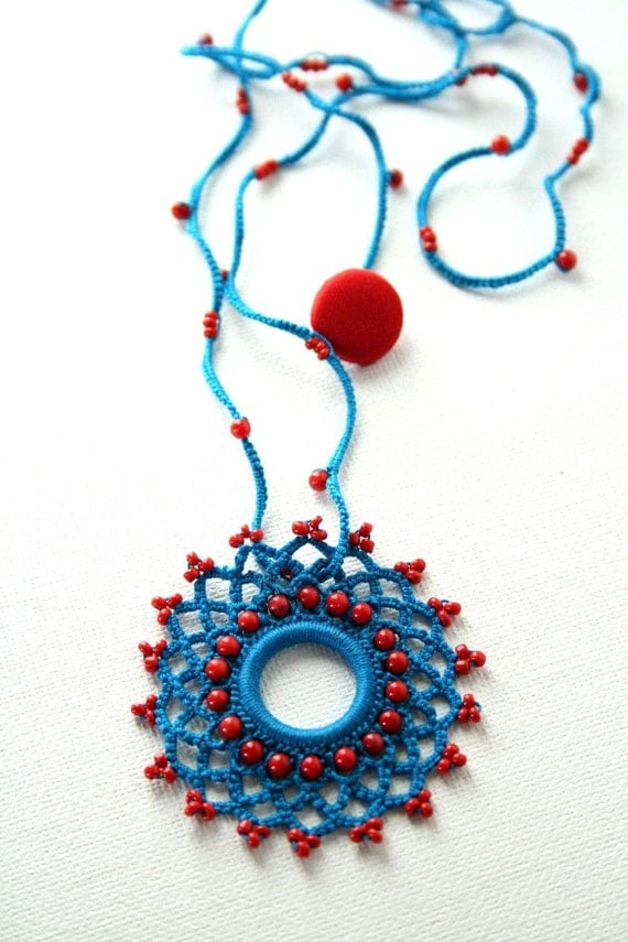 Dark Turquoise Blue and Red Coral Pendant and necklace