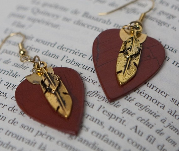 Native golden and red earrings