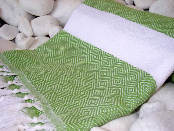 Best Quality Hand Woven Turkish Cotton Bath Towelor Sarong-Apple Green and White