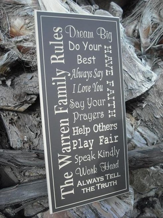 "Listing for a 12"" x 24"" Sign - Custom Family House Rules and Engraved Typography Art - Great Gift or Decoration for any Home"