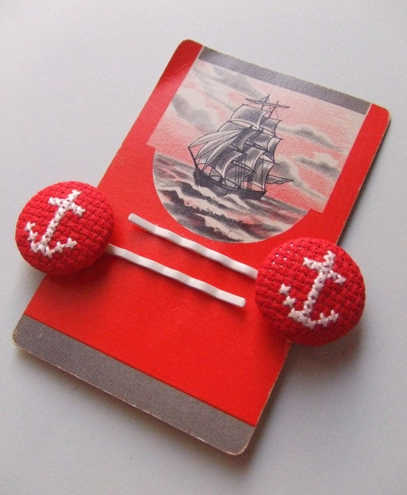 Cross-stitch anchor bobby pins with vintage nautical playing card