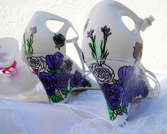 Wedding painted Shoes ivory wedges lisanthius pansies lilies, only paint  not dyed