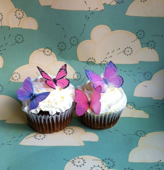 Edible Butterflies - Small Assorted Pink and Purple