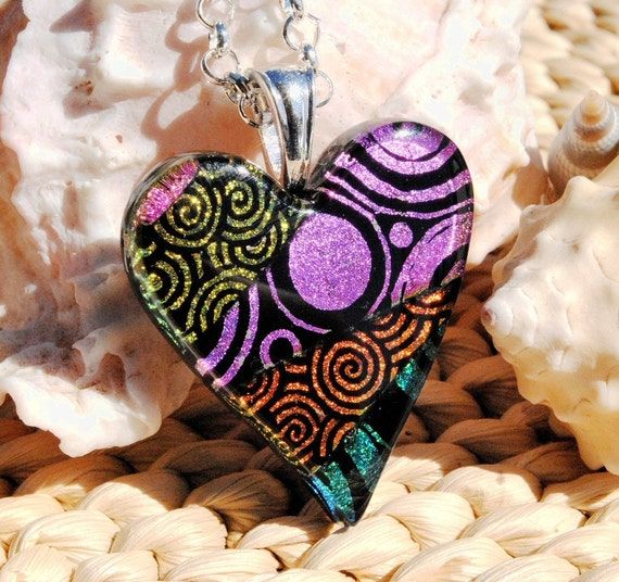 Love is Alive -- Dichroic Fused Glass Colorful Heart Pendant (Item 10276-P)