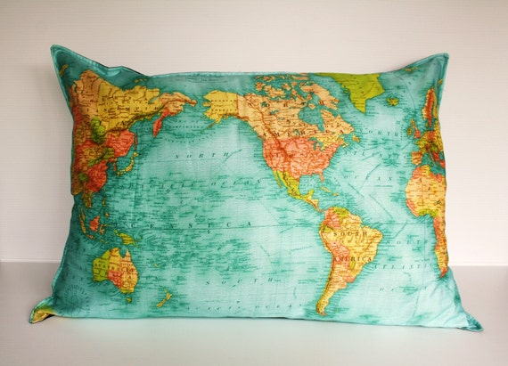 WORLD MAP - giant organic cotton cushion- the whole wide world cushion cover, pillow 86cm/34inches x 61cm/ 24 inches .