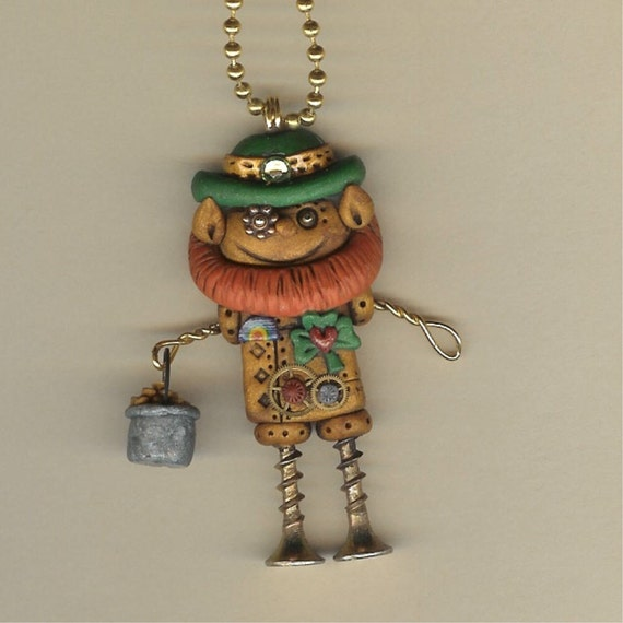Steampunk Irish Leprechaun Robot Necklace