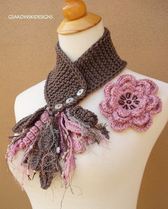 Antique Rose Flower Scarflette