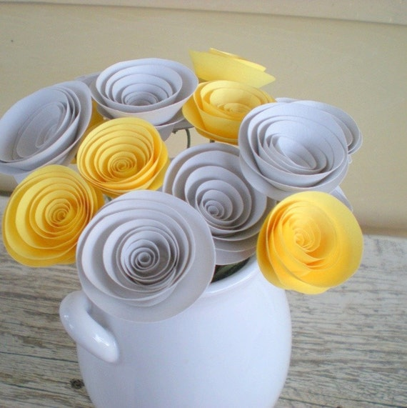 Yellow and Grey Paper Flowers Arrangement