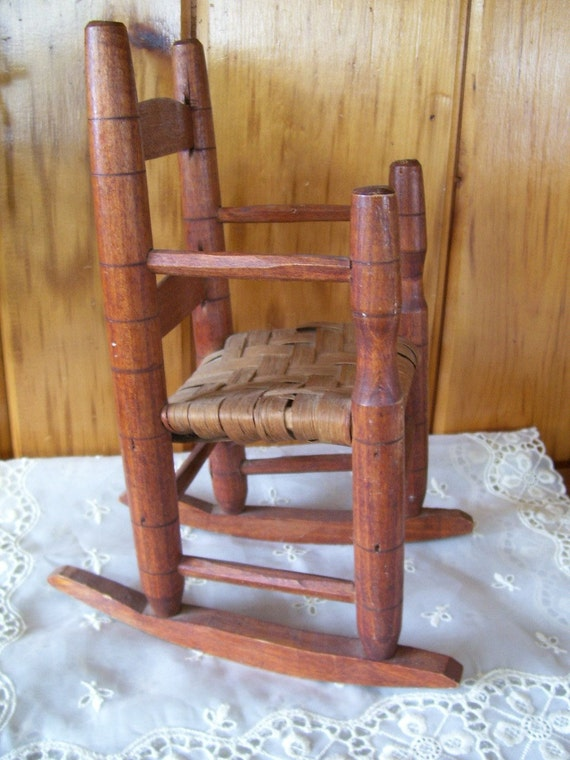 Antique Doll's Country Wooden Rocking Chair
