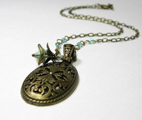 Aquamarine Flower and Antiqued Brass Pendant Necklace
