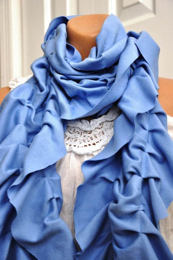 Ruffle Scarf in Light Blue