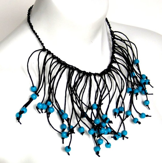 fringe necklace, paper jewelry, paper necklace,  primitive style,  tribal influence, teal and black, spring fashion