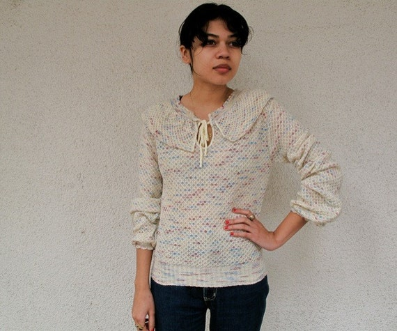 Darling 80s Hippie confetti knit sweater blouse