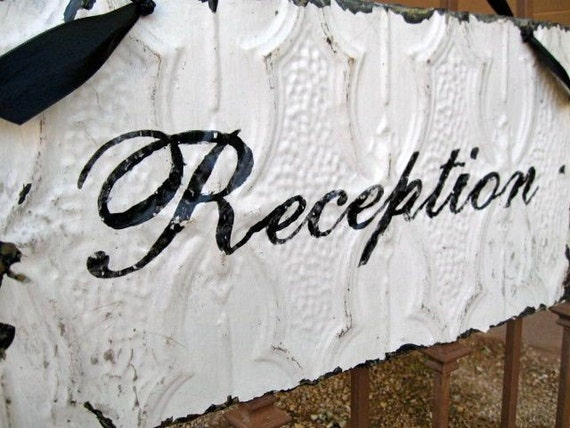 Wedding RECEPTION Sign made with Antique Ceiling Tin Tile