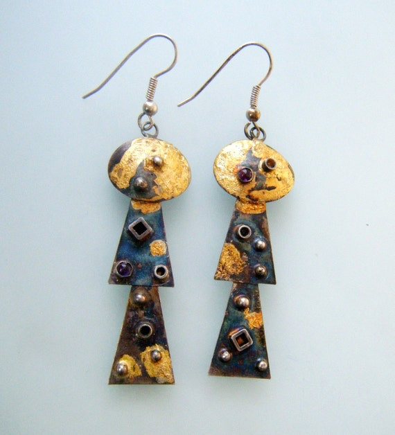 Keum Boo Earrings by laurastamperdesigns on Etsy