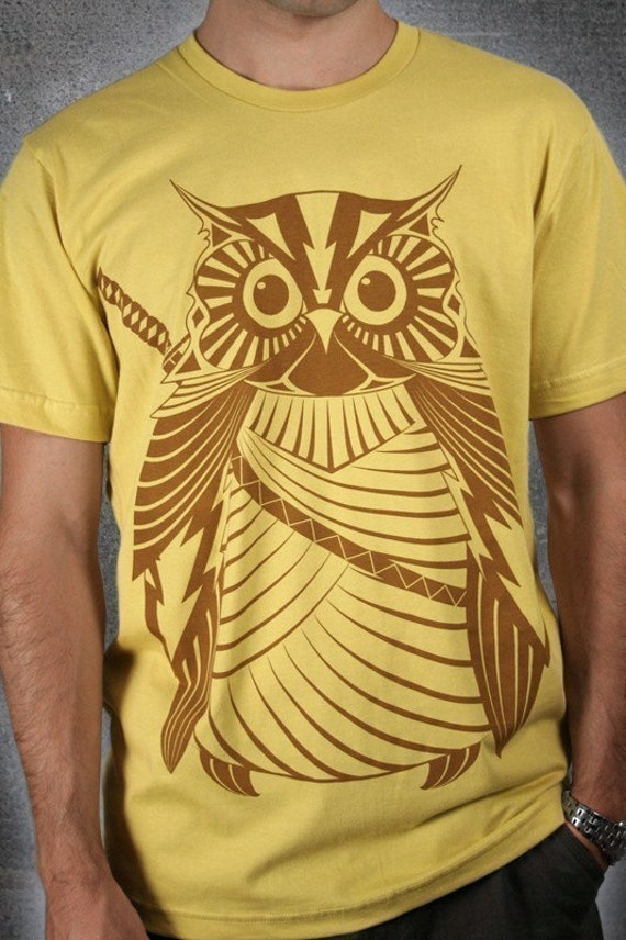 Samurai Owl - Organic Cotton Men/Unisex Tee, printed with ECO ink on dijon