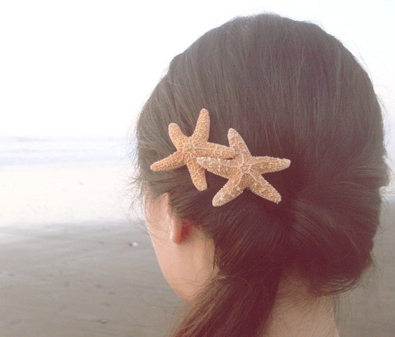 15% OFF Sale - Double Natural Sugar Starfish Barrette Clip - Romantic Whimsical Dreamy Sea Stars for Your Hair - Mermaid Collection