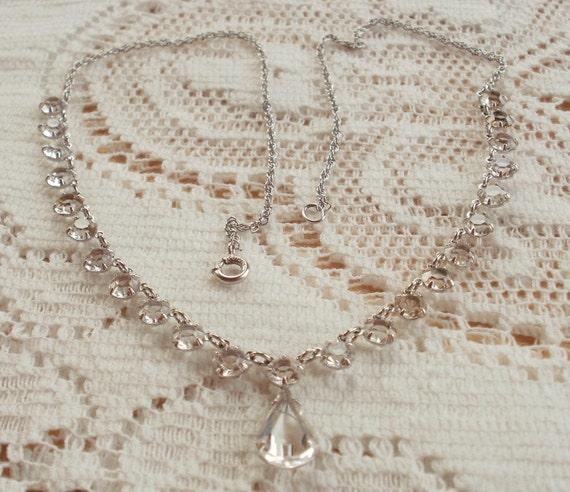 Bridal Rhinestone Necklace 12 K White Gold Filled