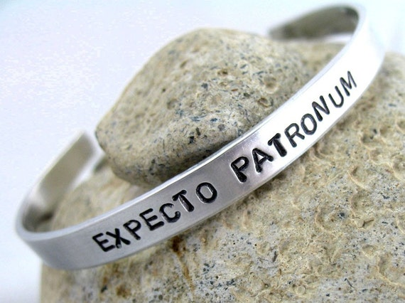 Harry Potter Bracelet - Expecto Patronum - Bright Aluminum Narrow Cuff, made to order - custom work available