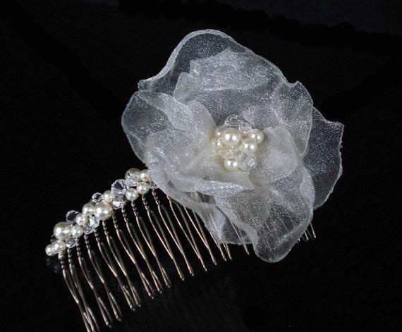 Chic Organza Rose Bridal Comb