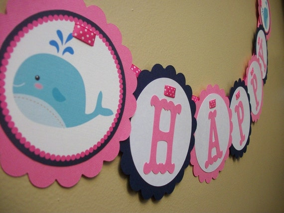 New - Preppy Whale - Girls Party Banner