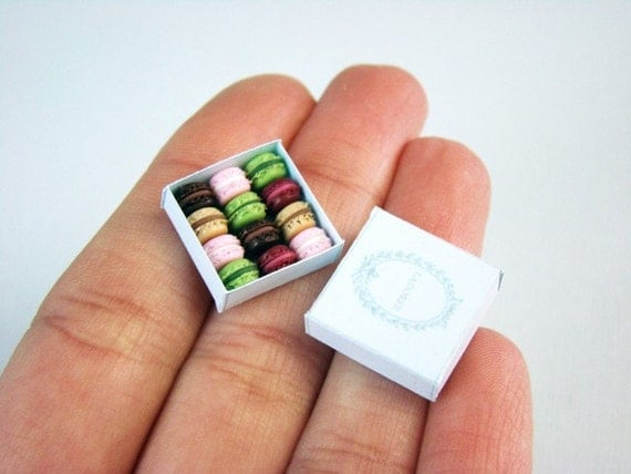 Miniature Macarons Box - 1/12 dollhouse miniature - MADE TO ORDER