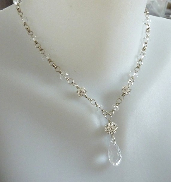 Bride's necklace of  Swarovski components and sterling silver, shimmer and sparkle