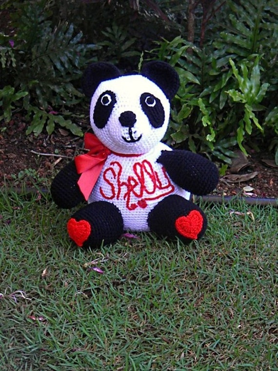 Crochet Stuffed Panda Bear with Hearts - Charity Item - Great Gift