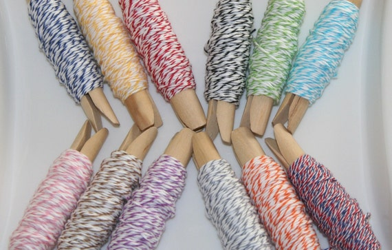 Divine Twine Bakers Twine - Sample Pack- All 12 colors - 3 yards each --36 Yards Total- Wooden Pins Included