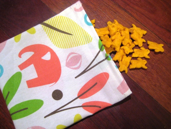 Ready to Ship Pink Modern Animal Fabric Resuable Snack or Goodie Bag