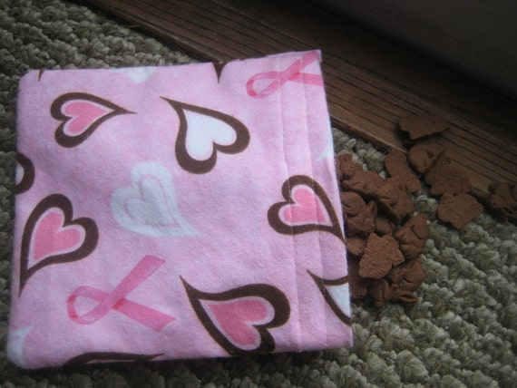 Ready to Ship Pink Ribbon Hearts Reusable Fabric Snack Bag