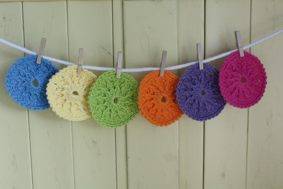Rainbow Cotton Bath Scrubbies - Set of 5 - Pick your Favorite Colors