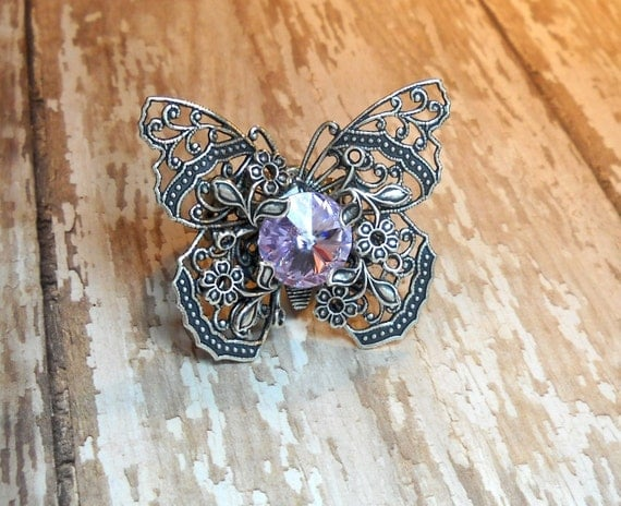Lilac Dreams - Swarovski Crystal - Victorian Butterfly Filigree - Vintage Estate Rhinestone Cocktail Ring Adjustable