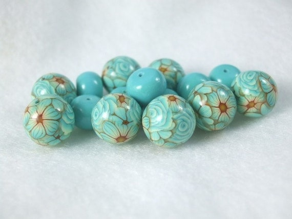 Polymer clay beads in Blue Curacao- 13mm