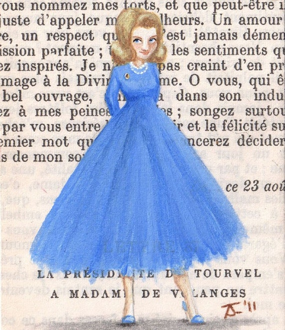Femme Fatales - Original ACEO painting - Paris, 1957 - Miette May Not Have Been Born With A Silver Spoon In Her Mouth, But She Sure Knew How To Dress The Part.