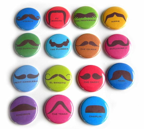 15 I Heart Mustaches Flat Back Buttons