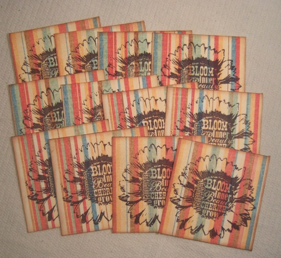 Bloom Flower Cherish Grow Garden Daisy Striped Hang Tags - Vintage Retro Inspired