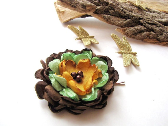 Заколка ручной работы цветок ткань (1 шт) - коричнево-зеленый ПИОН