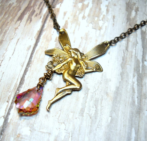 Sugar Plum Fairy - Wire Wrapped Swarovski Crystal Antique Brass Necklace