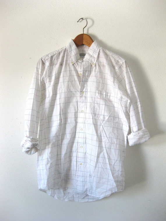 Vintage 80s 90s Classic White Shirt with Subtle Colorful Plaid Print