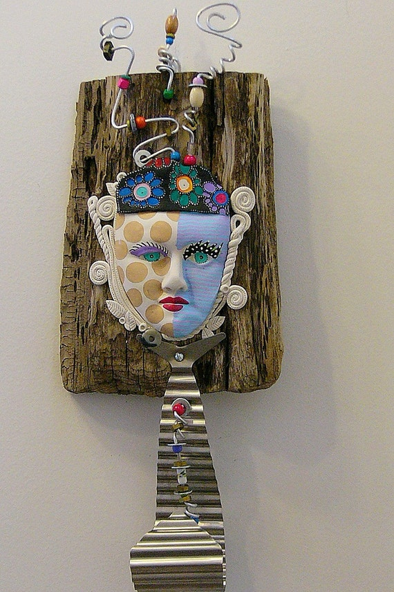All Tied Up  Found object recycled sculpture