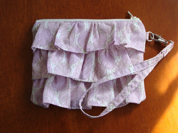 Purple Leaf Ruffle Clutch